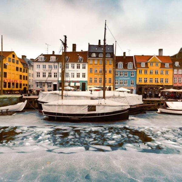 Winter time in Copenhagen. When the temperatures are low, the canals are freezing.